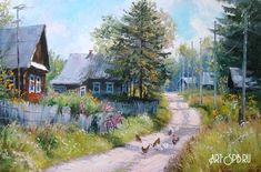 Scenery Paintings, Soviet Art, Painted Cottage, Winter Painting, Russian Art, Beautiful Paintings, Painting Inspiration, Watercolor Art, Illustration Art