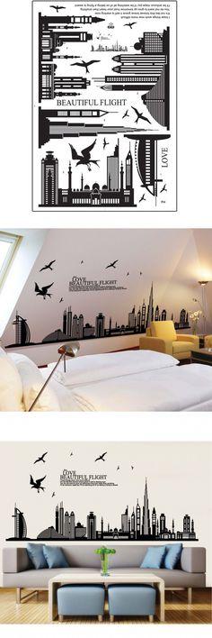 IMC Hot flight cityscape wallpaper bedrooms vinyl big wall stickers home decor vintage living room sofa wall art decals Black $3.28