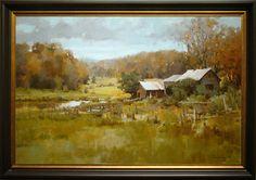 "The Stables. Oil on panel. 25"" x 35"". Mark Boedges. Robert Paul Galleries"
