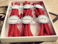 """Puppy themed birthday party with So Many Great Ideas via Kara's Party Ideas! Full of decorating tips, party decor, recipes, cupcakes and more! Love these """"go fetch"""" sticks! KarasPartyIdeas.com"""
