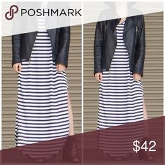 Striped slouchy Maxi Dress Super soft slouchy oversized maxi dress with side skits . Nwot best selling style . Runs big small  will fit up to size 8 this is one navy striped one . Vivacouture Dresses Maxi