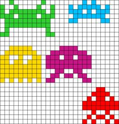 Tiny Space Invader Charms Perler Bead Pattern / Bead Sprite