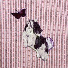 Embroidered Portrait for Havanese Quilters Project:  Daisy and the Butterfly