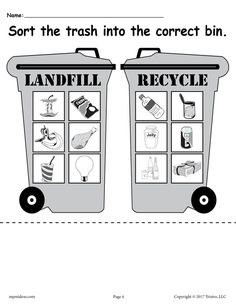 Sorting Trash - Earth Day Recycling Worksheets Free Printable on Best Worksheets Collection 403 Printable Worksheets, Free Printables, Importance Of Recycling, Garbage Recycling, Recycling Information, Earth Day Crafts, Earth Day Activities, Kindergarten Worksheets, Writing Worksheets