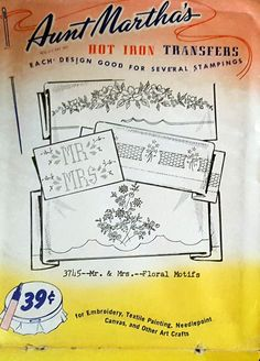 Aunt Martha's  Hot Iron Transfers # 3745 Mr. & Mrs.Floral Motifs  For Embroidery, Textile Painting, Needlepoint Canvas & Other Art Crafts
