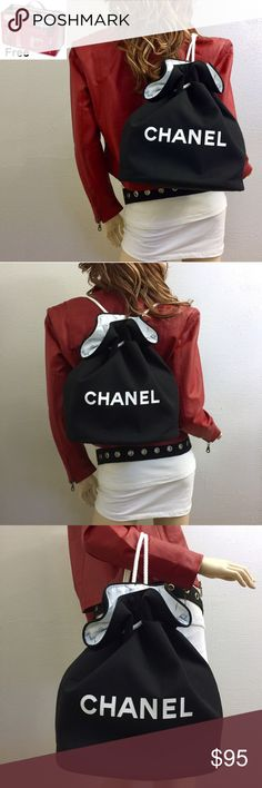 """FREE organizer w VIP Chanel cosmetic bag . Chanel Backpack Bucket & FREE purse organizer  * Height=   14"""" (approx.) * Base=  11""""  * BRAND NEW Authentic Gift w/ Purchase for certain clients * Thick black canvas lined with waterproof vinyl in C logo. * Adjustable closure ties * Versatile uses:  Luxury wash bag or beach bag, cosmetic makeup storage case, or tote over your arm. * Includes  FREE red purse organizer (accessories not incl.) * FREE Organizer fits perfectly inside & helps keep…"""
