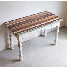 This table has us like  . @denneheydesign made the top using wood from over 5 pianos and painted the base with MMS Milk Paint. . Those pretty legs are from an antique table. . Where would you put this gorgeous piece in your home? . . #mmsmp #mmsmilkpaint #iheartmilkpaint #reclaimedwood #salvaged #woodworking