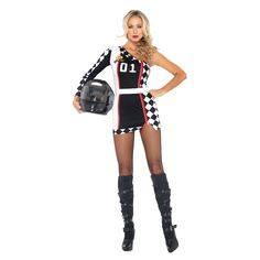 Costumes & Accessories Race Car Girl Rompers High Octane Honey Costume Rose/white Long Sleeve Cheerleading Uniforms Cheerleader Victory Lap Costume 100% Original