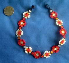 12.5 inch Huichol Peyote flower Choker by Aramara on Etsy,