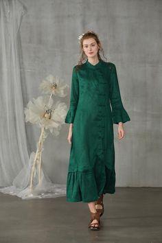 Linennaive maxi dress mermail wedding dress linen dress in Apron Dress, Tie Dress, Maxi Dress Wedding, Cheongsam Dress, Lilac Dress, Linen Dresses, Flare, African Fashion, Coats For Women