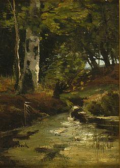 Beekje in bos - T.E.A. de Bock - 1875-1899  Maat: 21cm x 15,5cm  Materiaal: olieverf op paneel  Inventarisnummer: E883