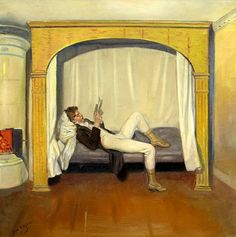 Young man on bed by Bror Hillgren born April 28, 1881 in Tierp, Sweden died January 8 , 1955 (73) in Stockholm, Sweden