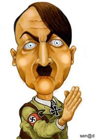 Even as a caricature, Hitler is still scary to look at.