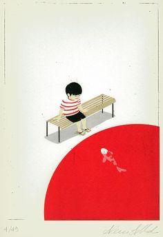 Alessandro Gottardo   I love Japan, on Galleria dell'Incisione. #kid #fish #japan