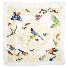 "HERMES ""Birds of India and the Himalayas"" Silk Scarf 