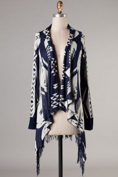 Riley Printed Cardigan-Navy
