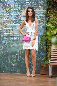 My Look: White Dress in São Paulo! | Camila Coelho Lace Dress, White Dress, Cute Dresses, Summer Dresses, Prep Style, Black Bodycon Dress, Summer Looks, Style Summer, Look Fashion