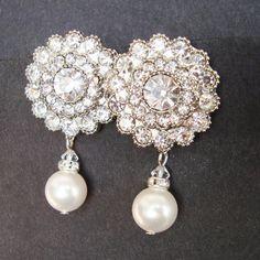 ArtDeco Stil Braut Ohrstecker Strass & Perlen von luxedeluxe, $59.00