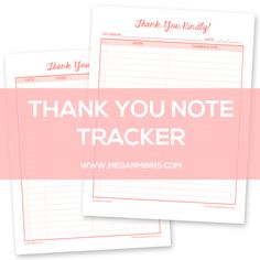 """Free Printable: """"Thank You Kindly"""" Thank You Note Tracker - Megan Minns"""