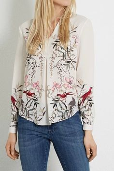 9b97208c8262e 2017 New Spring Women Vintage Ink Painting Flower And Birds Printed Blouses  Shirts Long Sleeve Pullover Casual Feminine Blusa