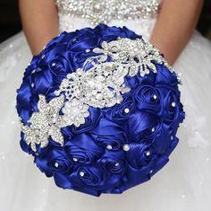 Handmade Bride Brooch Bouquets Satin Roses