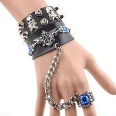 Detachable Studded Skull Bracelet Ring from #YesStyle <3 Trend Cool YesStyle.com