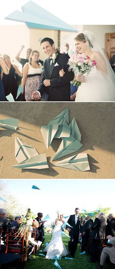 Paper airplanes thrown during departure!  I love this idea; I can see where the airplanes could block the couple's faces too much in photos, though.  This would be a best for daytime departure photos, I think!