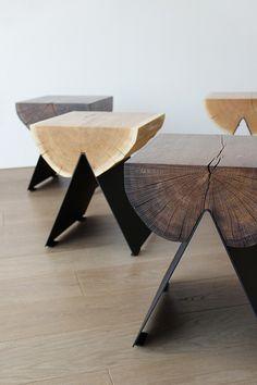 smoked oak version www Steel Furniture, Home Decor Furniture, Furniture Projects, Furniture Design, Handmade Furniture, Wood Table Design, Wooden Stools, Contemporary Furniture, Interior Design