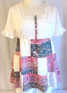 Womens White Soft Sweater Bodice and Patchwork Skirt Blouse