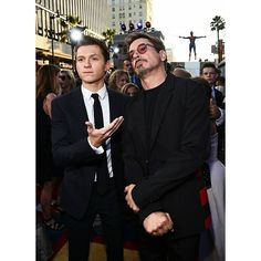 "Tom with Robert Downey Jr. at the World Premiere of ""Spider-Man: Homecoming"" at TCL Chinese Theatre in Hollywood, California (06/28)! Swipe to see the full HQ gallery @tomholland2013 