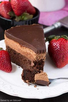 Triple chocolate Mousse Cake is the perfect light dessert recipe. It's made with a chocolate cake base, cool creamy mousse filling and topped with rich dark chocolate ganache. Chocolate Mouse Cake, Triple Chocolate Mousse Cake, Chocolate Desserts, Chocolate Ganache, Chocolate Mousse Cheesecake, Chocolate Custard, Chocolate Mousse Recipe, Light Dessert Recipes, Light Desserts