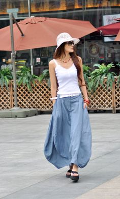 Sexy Grey-blue Skirt Linen Bud Long Maxi Skirt - NC024. $59.99, via Etsy.
