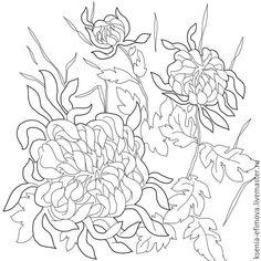 Купить Шаблон для росписи Хризантемы - чёрно-белый, Батик, батик платок, роспись шелка, роспись