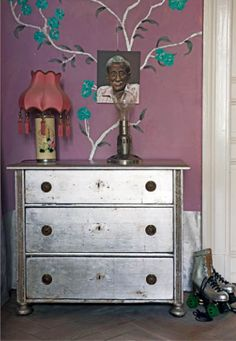 silver painted dresser.