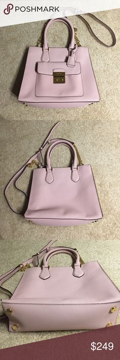 NWOT Pink Saffiano Leather Hamilton Crossbody New but no tags, dimensions  12 by 9.5 by 4.5 inches, strap drop is 22 inches with adjustable buckle strap Michael Kors Bags Crossbody Bags