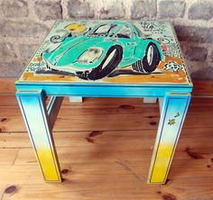 Vosvos desenli Tamamen el boyama yan sehpa tasarımları Elsa, Stool, Table, Furniture, Home Decor, Art, Ideas, Art Background, Decoration Home