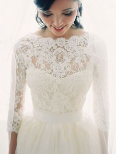 Beautiful Dress for a Rockabilly or Retro Inspired Wedding!:: Tulle Skirt Wedding Dress:: Short Wedding dresses with lace sleeves