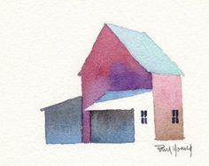 Barn in Fall-Print from an original watercolor painting by artworm