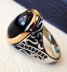 Agate onyx natural black aqeeq sterling silver men ring 925 #men'sjewelry