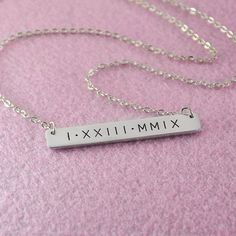 Custom Bar Necklace, Roman Numeral Necklace, Personalized Rectangle Bar Pendant, New Christmas Gift, 925 sterling silver Silver bar necklace