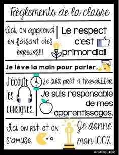 Affiche des règlements by Mme Marie Julie School Organisation, Classroom Organization, Classroom Management, Classroom Rules, Classroom Posters, French Classroom Decor, French Teaching Resources, Teacher Resources, Class Rules