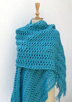 Hairpin Crochet Shawl Scarf  Wrap Turquoise von crochetbutterfly