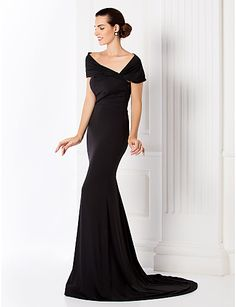 Trumpet/Mermaid Off-the-shoulder Sweep/Brush Train Jersey Evening Dress (949439) – AUD $ 185.89