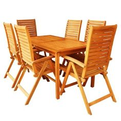 LuuNguyen - Collin Outdoor Hardwood 7-Piece Dining Set (Natural Wood Finish) by LuuNguyen. $859.99. Partially Assembled. Beautiful Eucalyptus Outdoor Patio Garden Dining Set At An Affordable Price. Solid Hardwood Treated with Oil, Natural Color Stained. Environmental Friendly Products. Some Assembly Required. Made From FSC Eucalyptus Solid Hardwood. This Set included: 1 x Bristol Dining Table (LNO79042) 6 x Collin Reclining Folding Chairs (LNO79076) Products Dimensions: Assem...