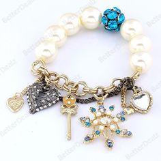 Faux Pearl Ball Crystal Heart Snowflake Charms Bracelet Elastic Korean Vogue