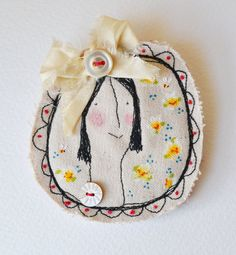 BROOCH  Fiber Prim Pin.  Girl with bow in her hair.