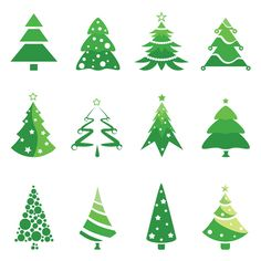 Christmas tree logos vector. Set of 12 green vector Christmas tree logotype templates for your Christmas related designs. Format: Ai/Tif stock vector clip art. Free for download. Theme: Christmas tree, logotypes.