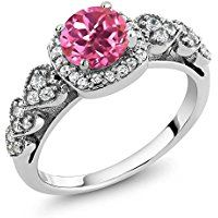 GEM STONE KING   1.32 Ct Round Pink Mystic Topaz 925 Sterling Silver Ring (Available in size 5, 6, 7, 8, 9)