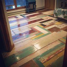 Upcycled repurposed wood floor. reclaimed wood