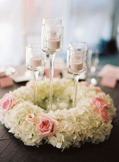 Hydrangea Wreath with Candles - 31 Unique Wedding Centerpieces Inspirations - EverAfterGuide